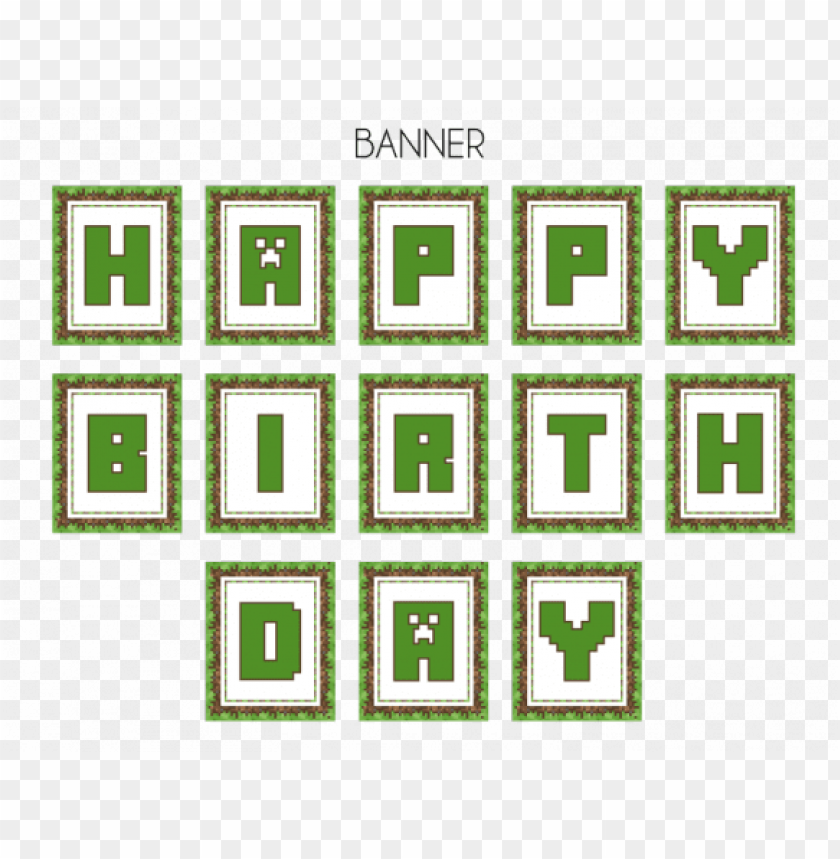Download Free Minecraft Party Printables From Printabelle Minecraft Happy Birthday Banner Printable Free Png Free Png Images Toppng
