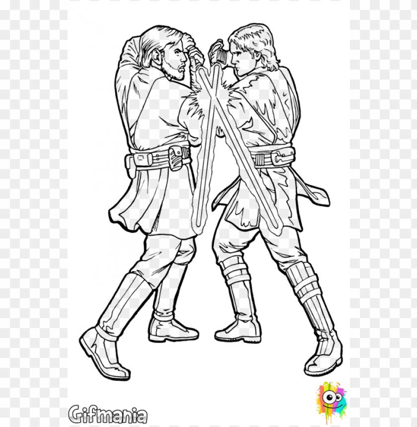 Download Star Wars Anakin Vs Obi Wan Coloring Pages Star Wars Coloring Pages Obi Wan Vs Anaki Png Free Png Images Toppng