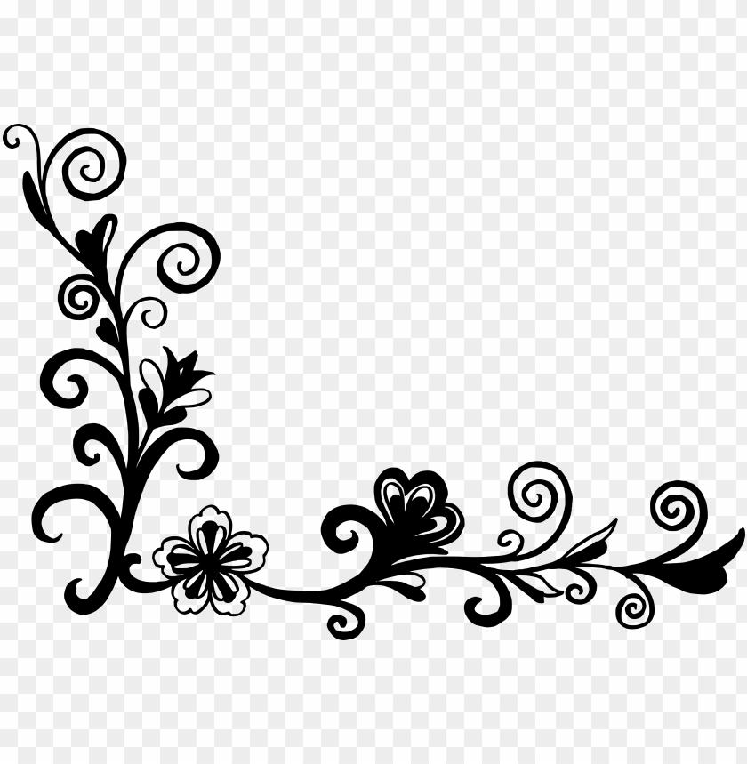 18 flower corner vector - corner design clipart black and