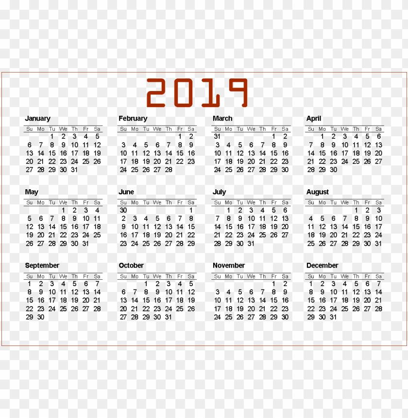 free PNG 2019 calendar png PNG images transparent