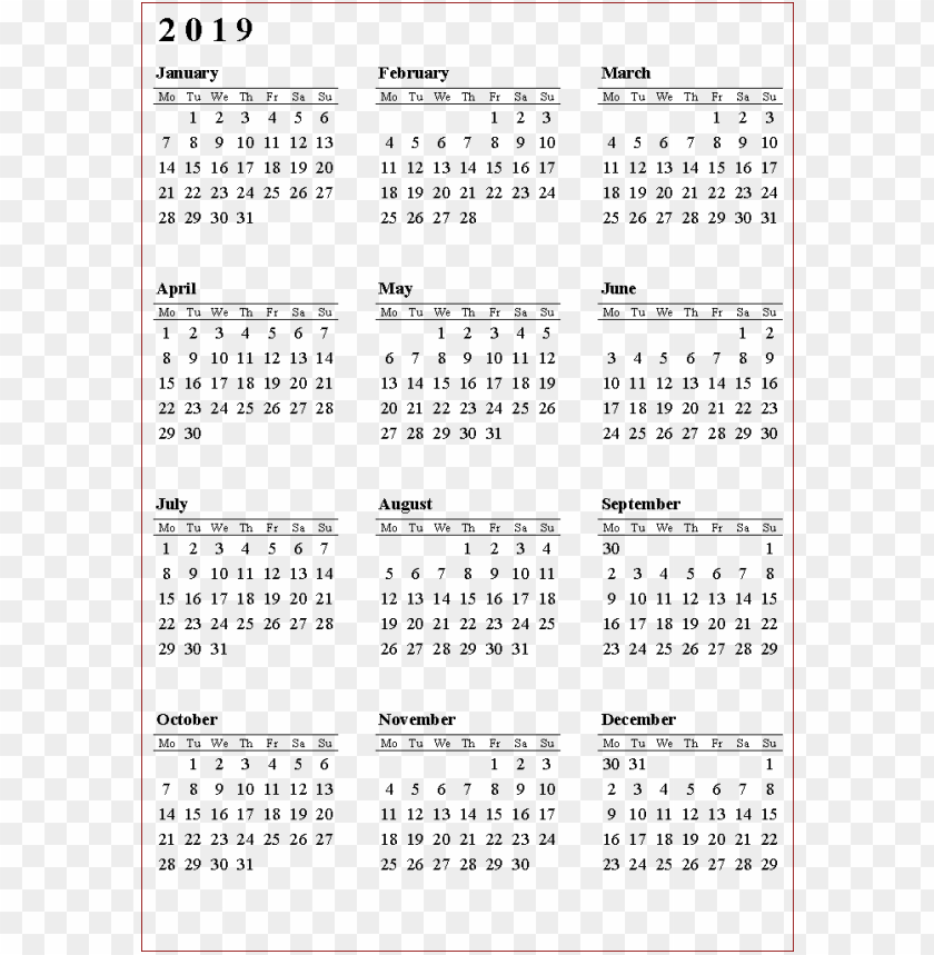free PNG Download 2019 calendar png pics png images background PNG images transparent