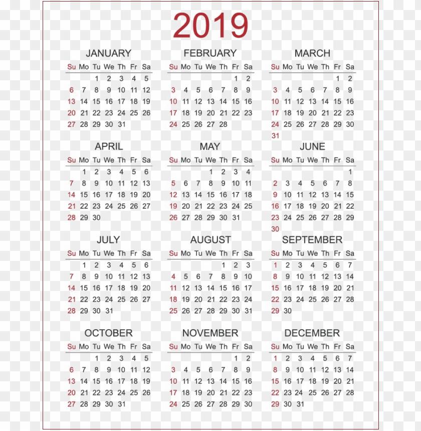 free PNG 2019 calendar s PNG images transparent