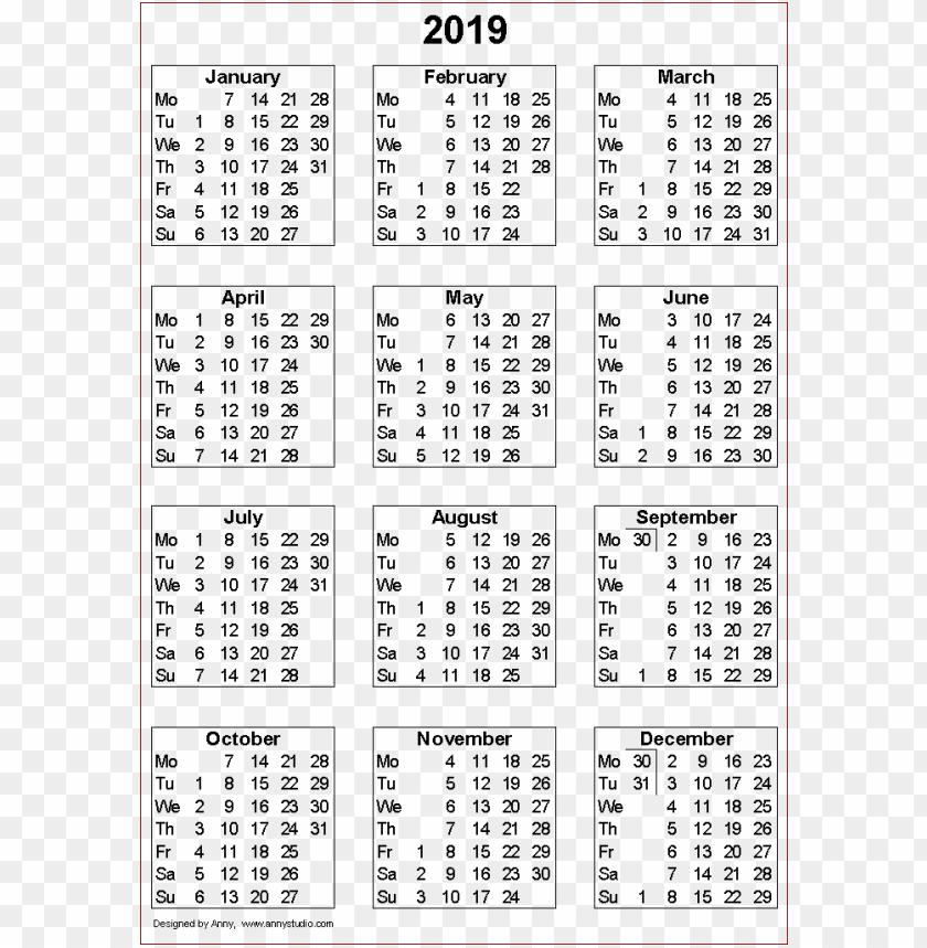 free PNG 2019 calendar templates PNG images transparent