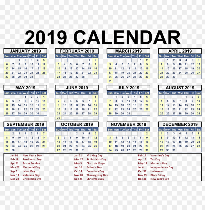free PNG 2019 indian calendar PNG images transparent