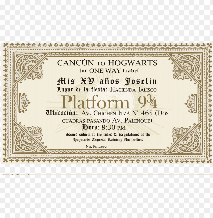 image regarding Hogwarts Express Ticket Printable named 56322865a7b84 - hogwarts convey ticket PNG impression with