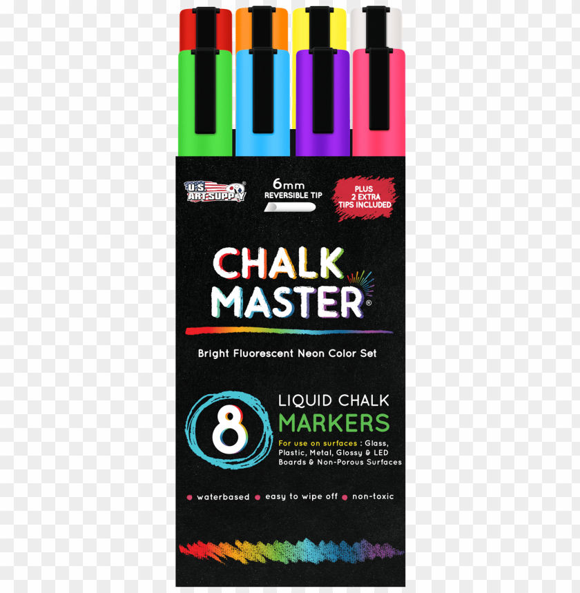 8 Bright Fluorescent Neon Liquid Chalk Marker Set Liquid Chalk Markers Png Image With Transparent Background Toppng