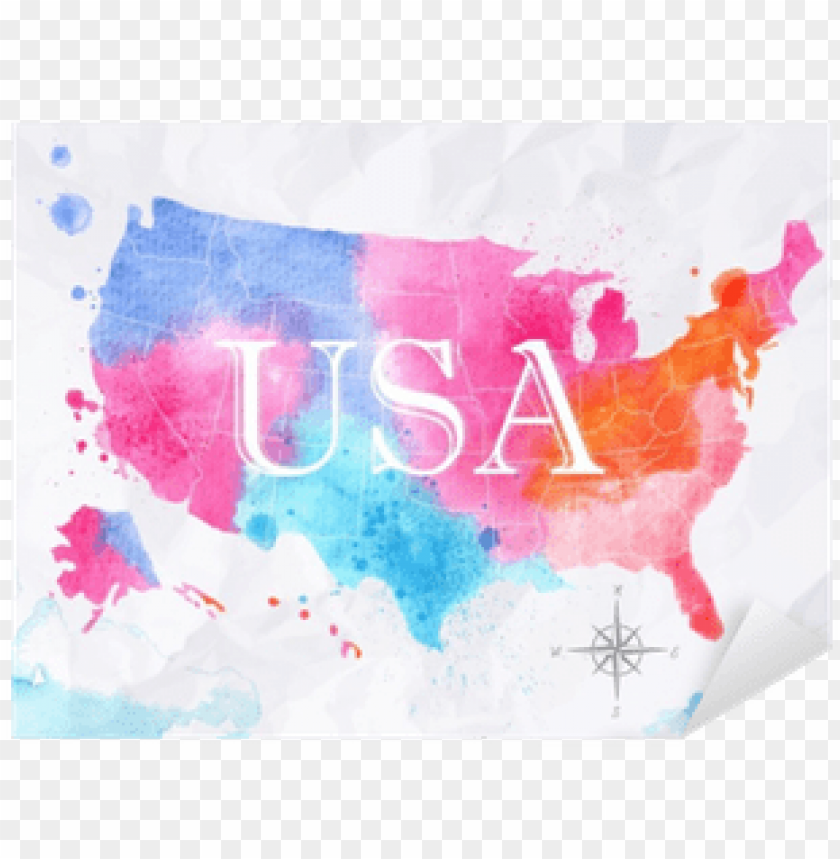 Art Print Anna42fs Ink United States Map 61x46cm Png Image - Us-map-transparent-background