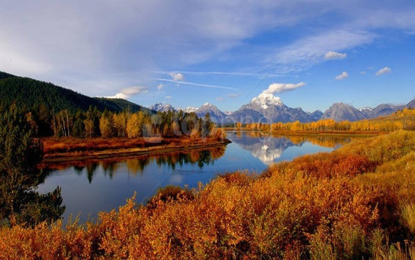 free PNG autumn mountain and river landscape wallpaper background best stock photos PNG images transparent
