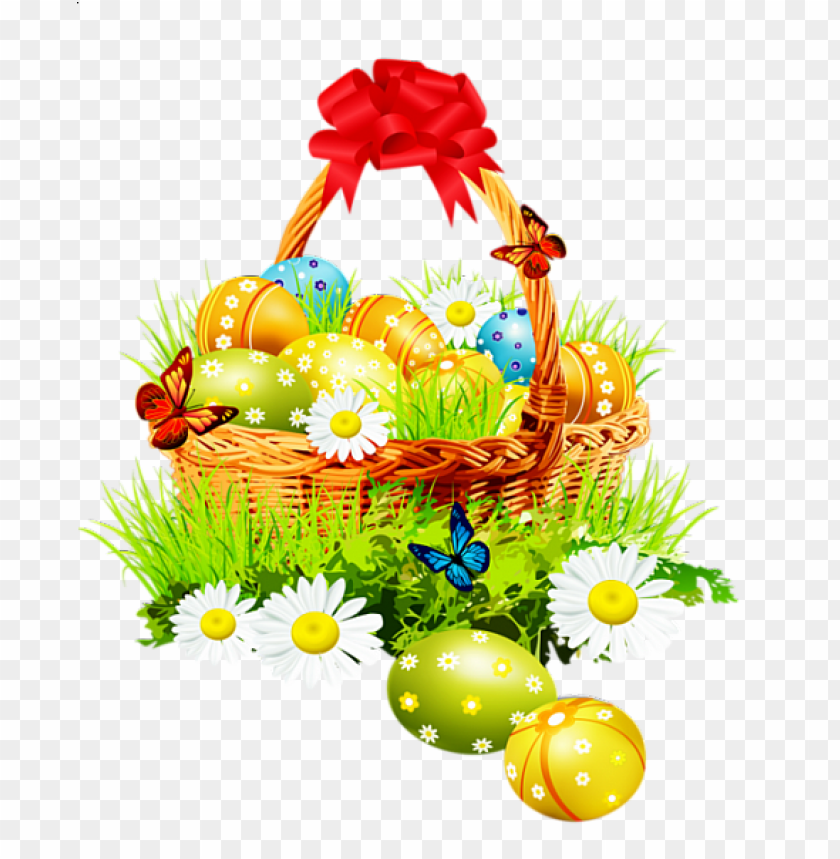 free PNG Download beautiful easter basket with red ribbon png images background PNG images transparent
