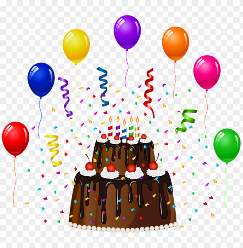 Free PNG Birthday Cake With Confetti And Balloons Png Images Transparent