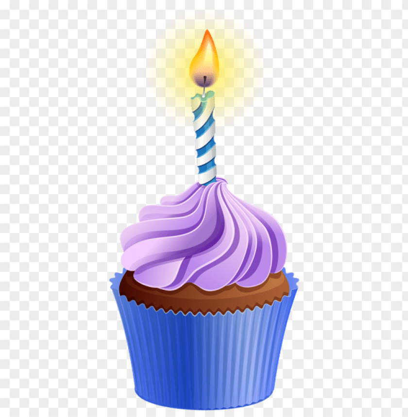 Download Birthday Cupcake With Candle Png Images Background Toppng