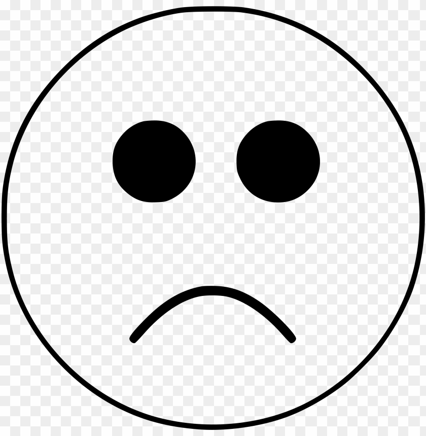 black and white sad smiley face emoji PNG image with