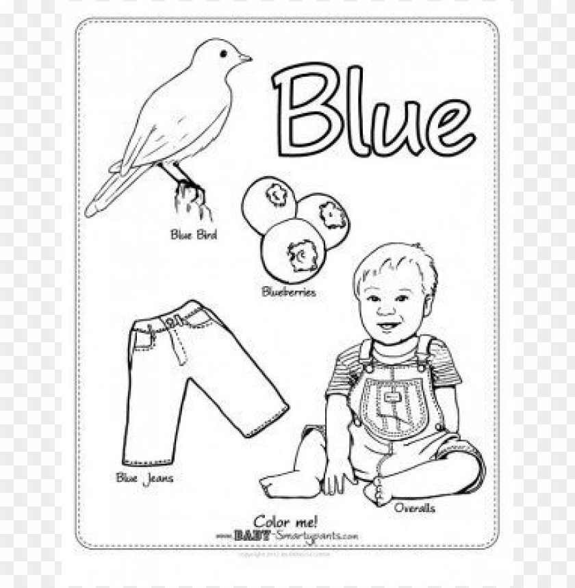 Blue Color Pages Preschool Coloring Png Image With
