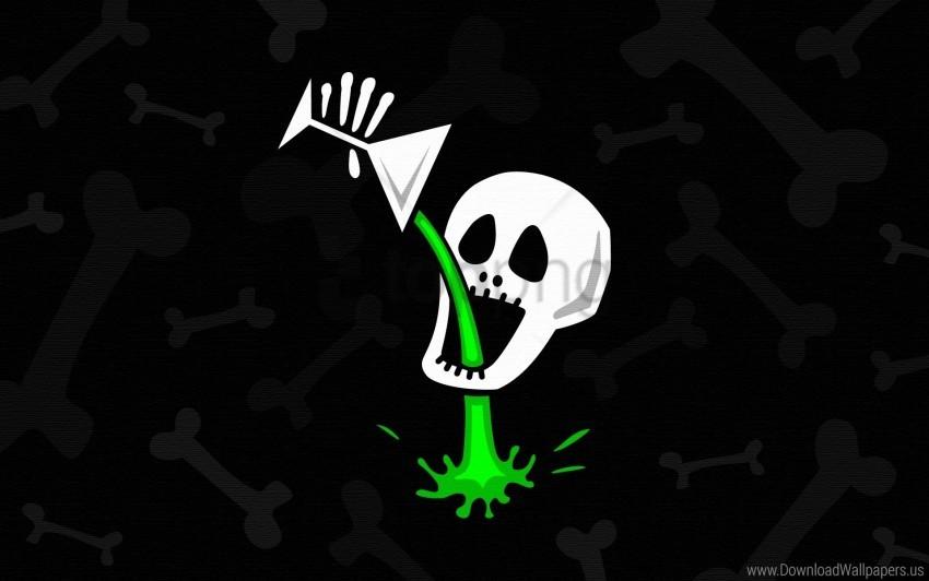 Bone Drink Drinks Green Skull Wallpaper Background Best Stock