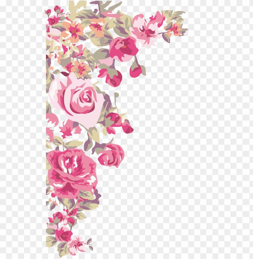 border design corner flower png image with transparent