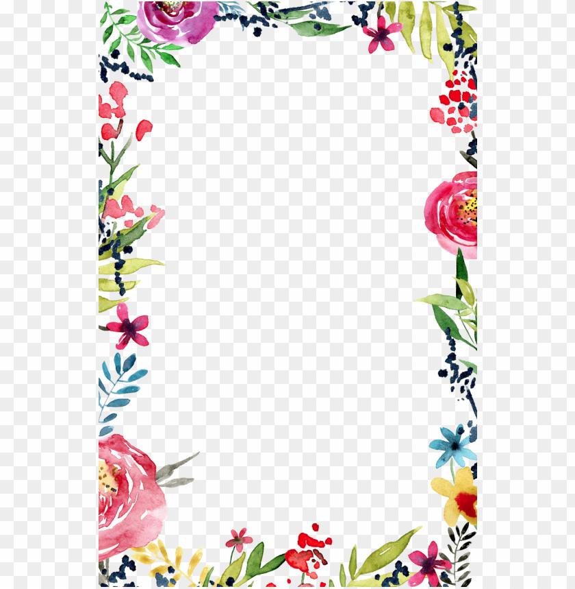 Border Line Design Flower Png Image With Transparent