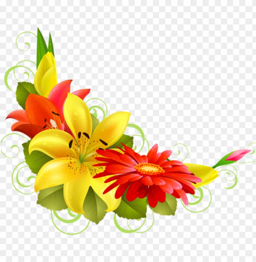free PNG bordures tubes coins corners png flowers pinterest - corner flower border PNG image with transparent background PNG images transparent