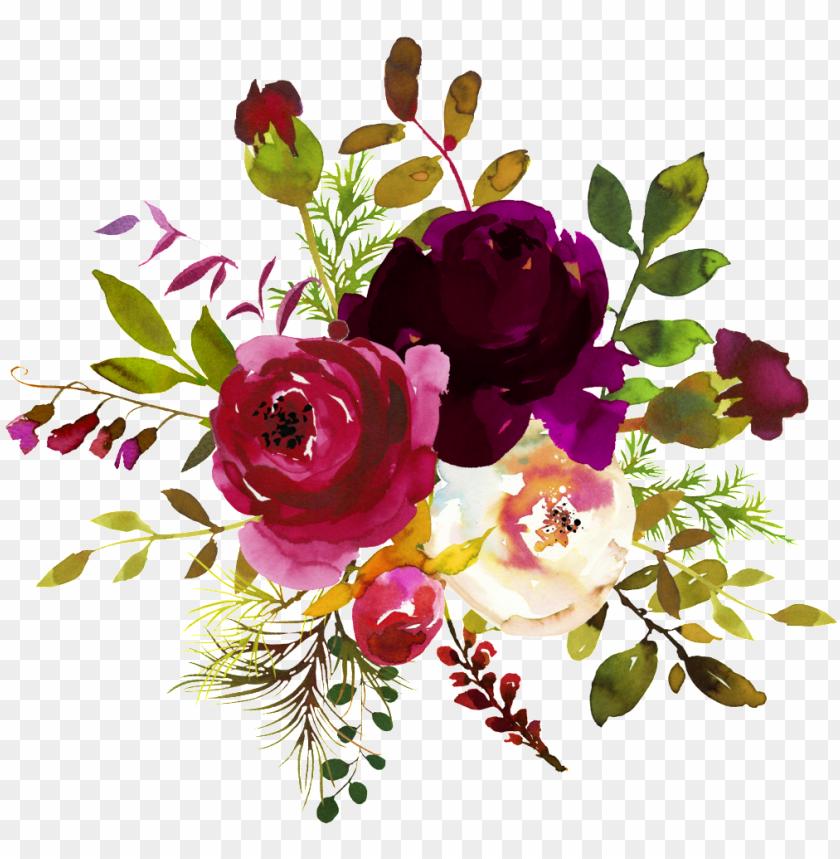 Download Burgundy Watercolor Flower Corner Borders Png
