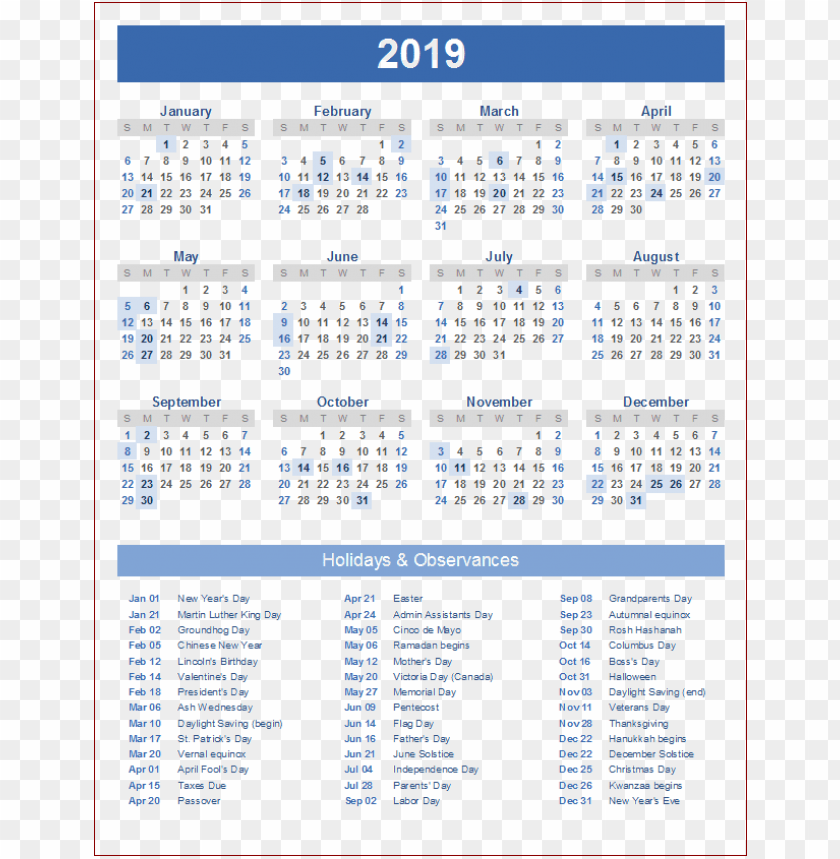free PNG calendar 2019 blue png PNG images transparent