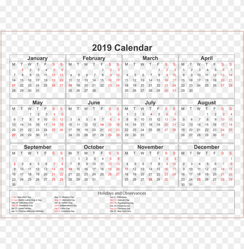 free PNG calendar 2019 s PNG images transparent
