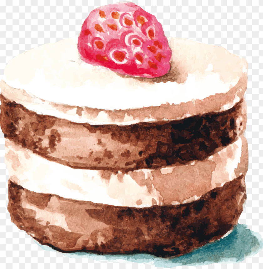 free PNG chocolate cake strawberry cream cake watercolor painting - chocolate watercolour cake drawi PNG image with transparent background PNG images transparent