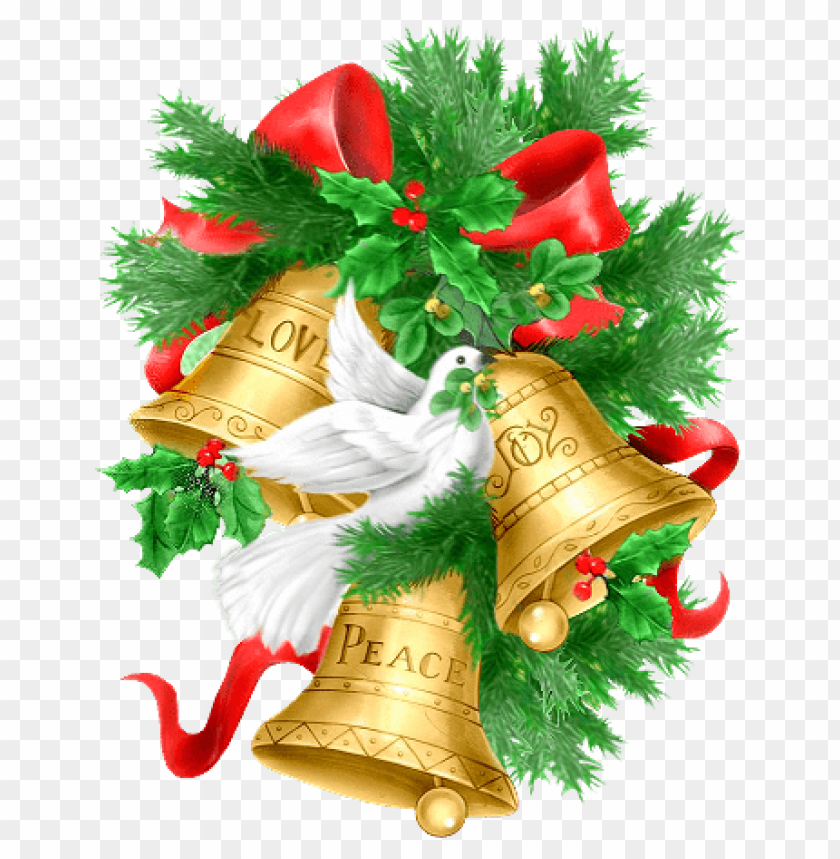 Christmas Pine Branch Golden Bells And Doves Png Free Png Images