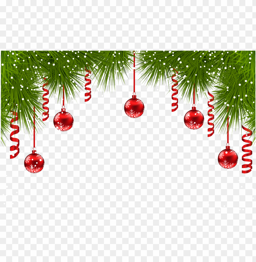 Christmas Graphics Transparent.Christmas Pine Decor With Red Ornaments Png Clip Art