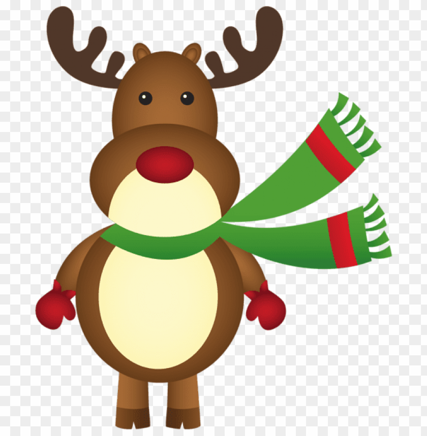 free PNG christmas rudolph with scarf png - Free PNG Images PNG images transparent