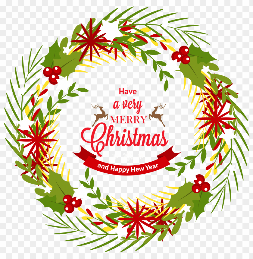 Download Christmas Wreath With Mistletoe Clipart Png Photo Toppng