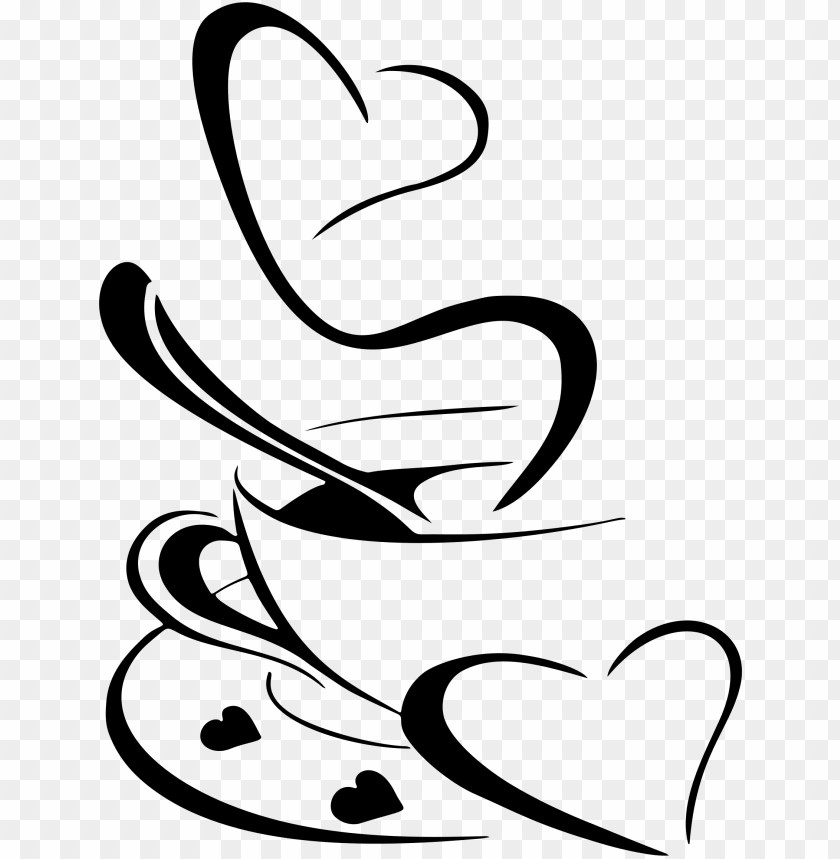 Download coffee clipart black and white heart - coffee ...