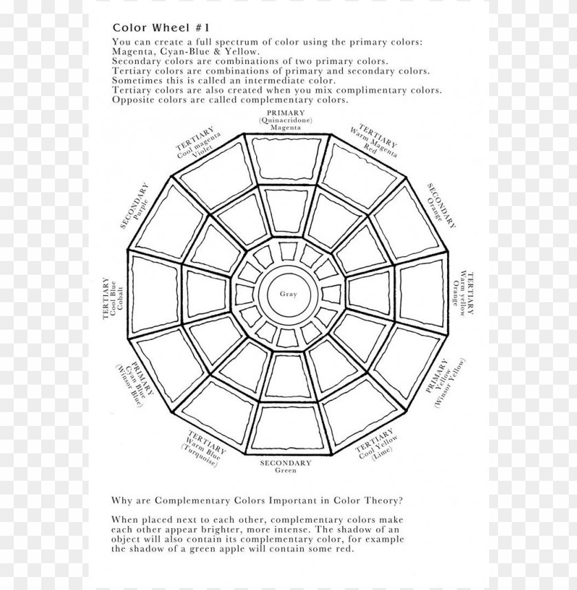 color wheel coloring page PNG image with transparent