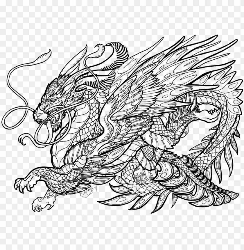 - Complicated Dragon Coloring Pages - Complex Coloring Pages Of Dragons PNG  Image With Transparent Background TOPpng