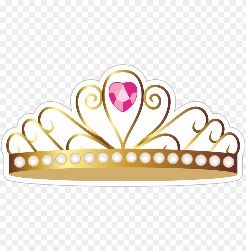free PNG coroa de princesa com pedra rosa - topo de bolo coroa PNG image with transparent background PNG images transparent
