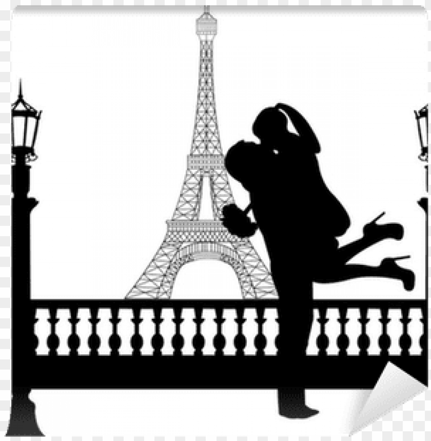 free PNG couple in love with flowers in front of eiffel tower - silhouette of couple kissing in paris PNG image with transparent background PNG images transparent