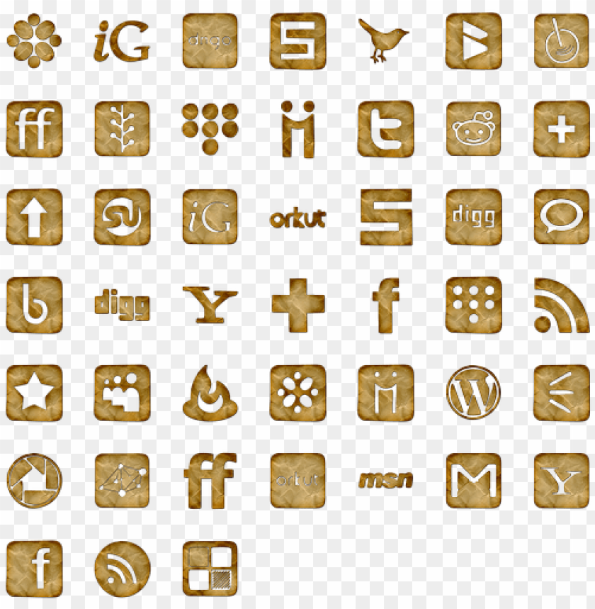 crumpled paper icon pack by webtreatsetc - brown social