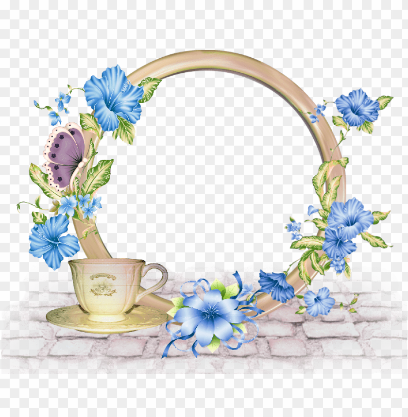 Best Stock Photos Cute Round Png Photo Frame With Blue Flowers