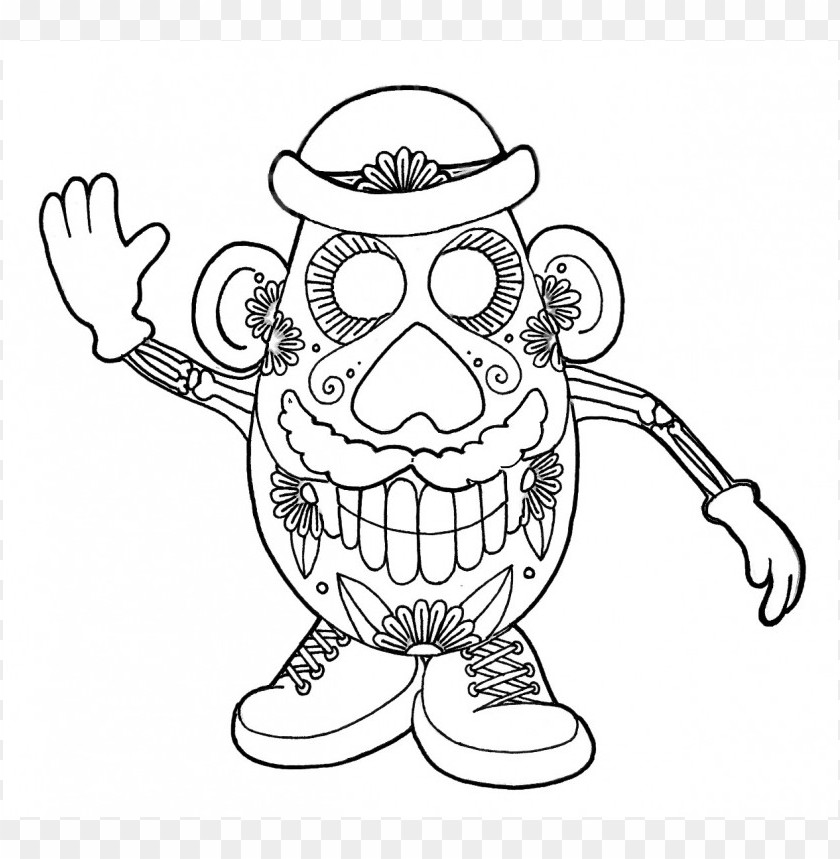 Dia De Los Muertos Skull Coloring Pages Colored Png Image