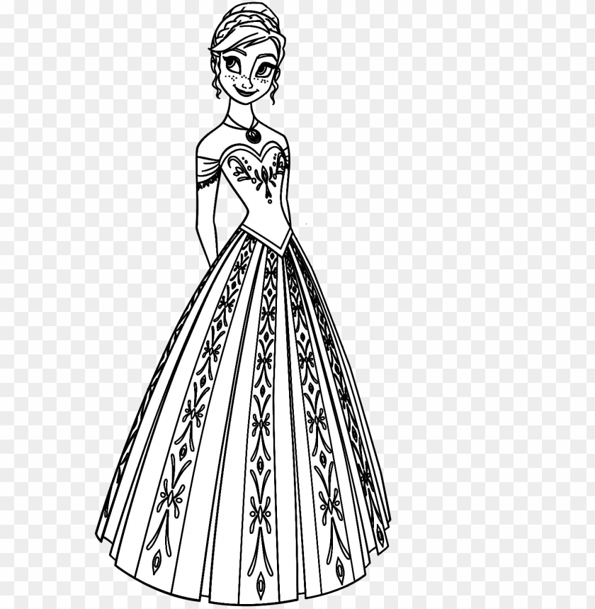 Disney Princess Coloring Pages Frozen Anna Png Image With