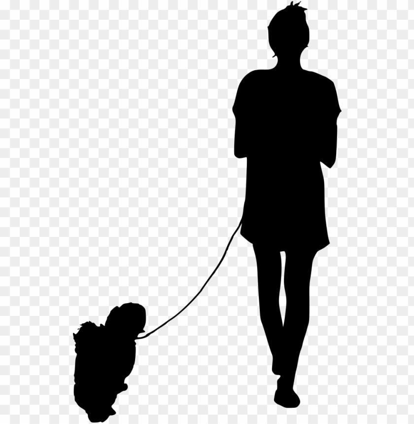Silhouette Person Walking Dog