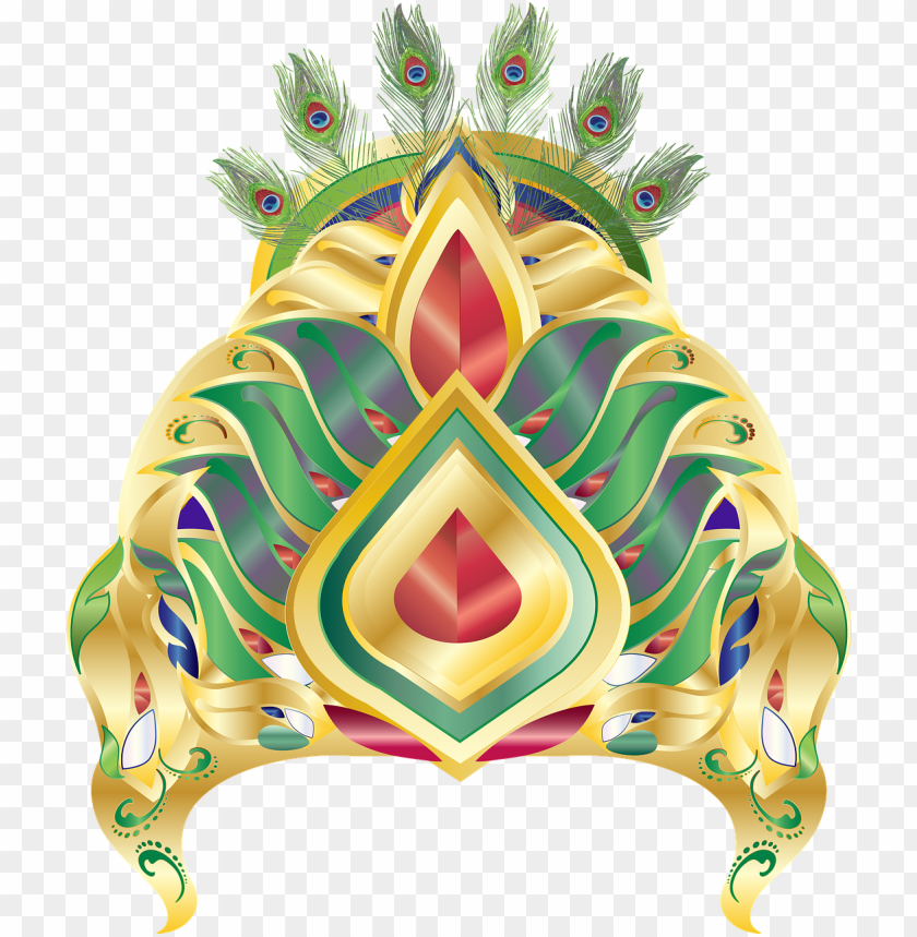 download from pixabay - transparent krishna crown PNG image