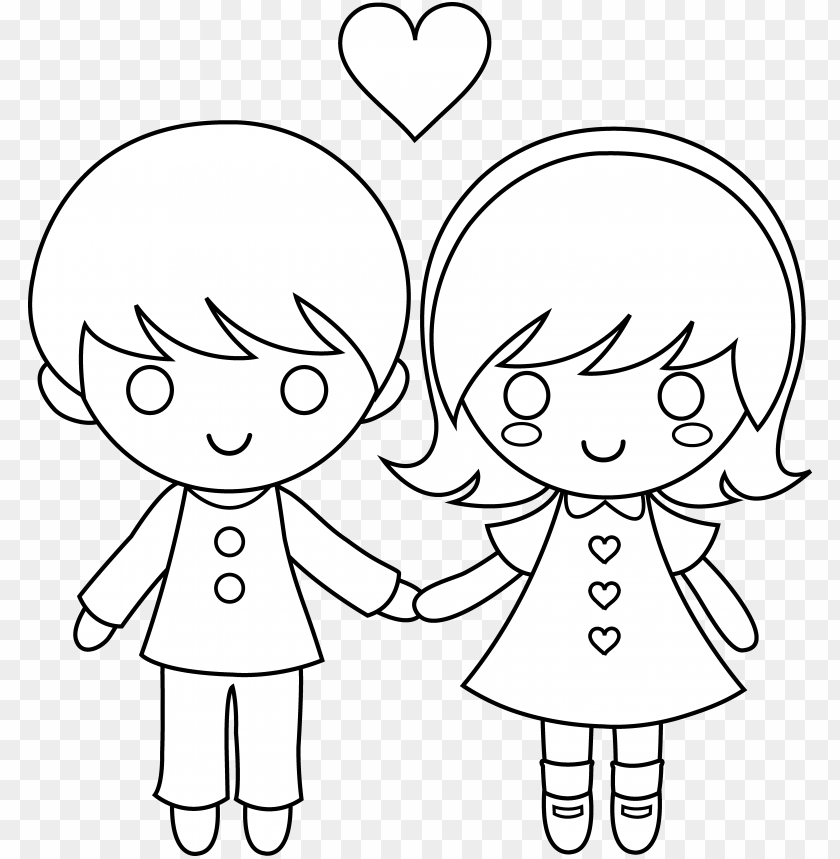 Draw A Little Boy And Girl Holding Hands Png Image With