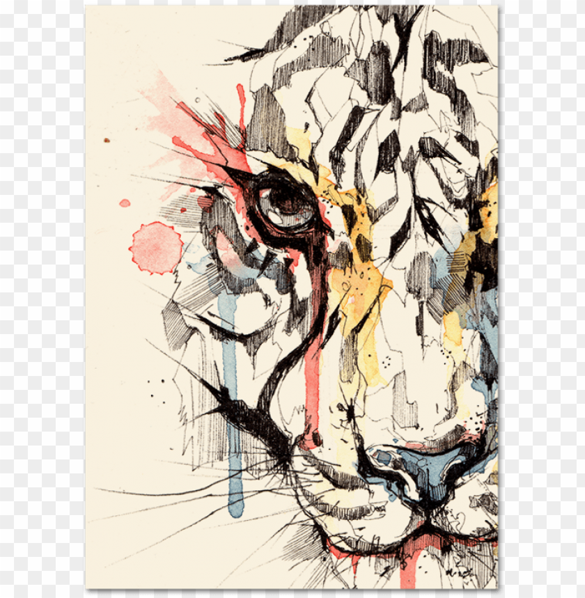 free PNG drawing tigers watercolor png free - colorful watercolor tiger painti PNG image with transparent background PNG images transparent