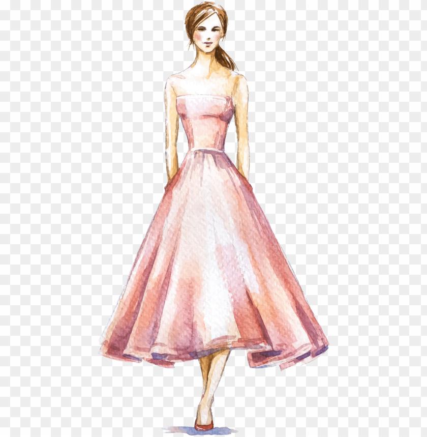 free PNG dress fashion illustration watercolor - fashion illustration dress PNG image with transparent background PNG images transparent