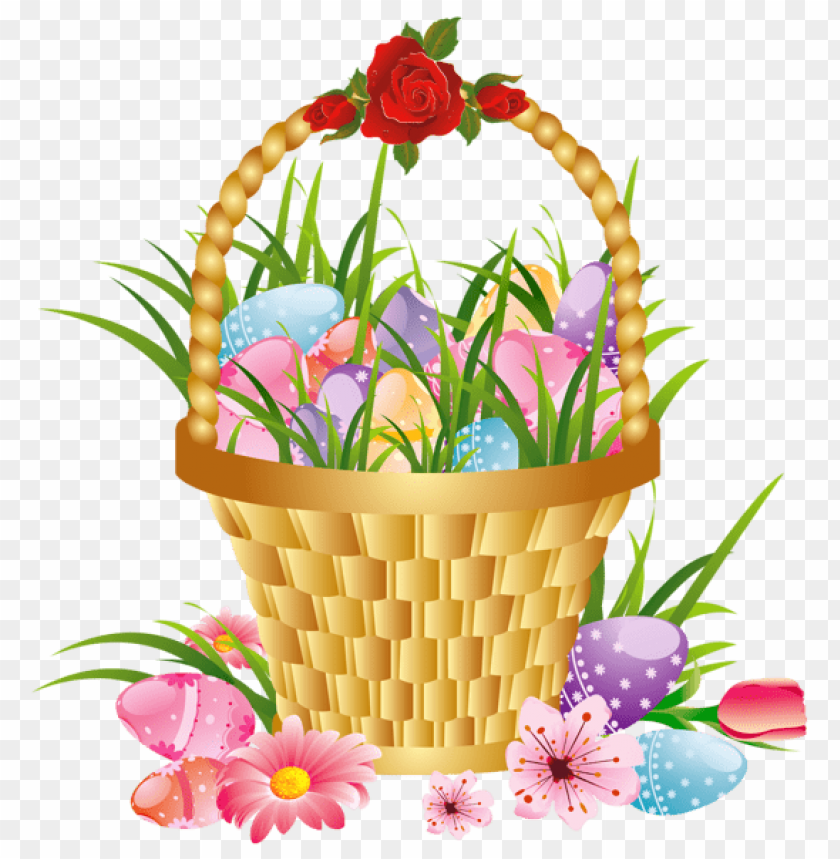 free PNG Download easter basket with eggs and flowers png images background PNG images transparent