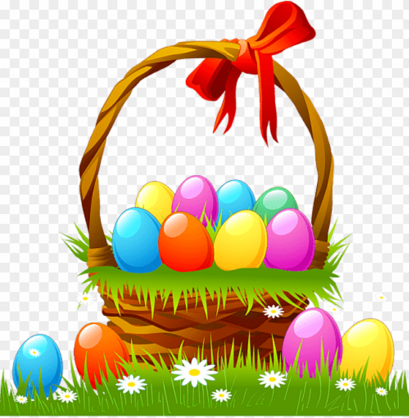 free PNG Download easter basket with eggs and grass png images background PNG images transparent