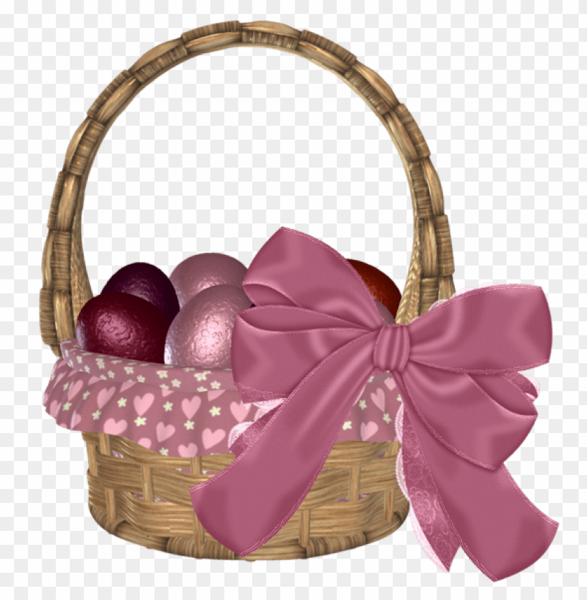 free PNG Download easter basket with eggs and pink bowpicture png images background PNG images transparent