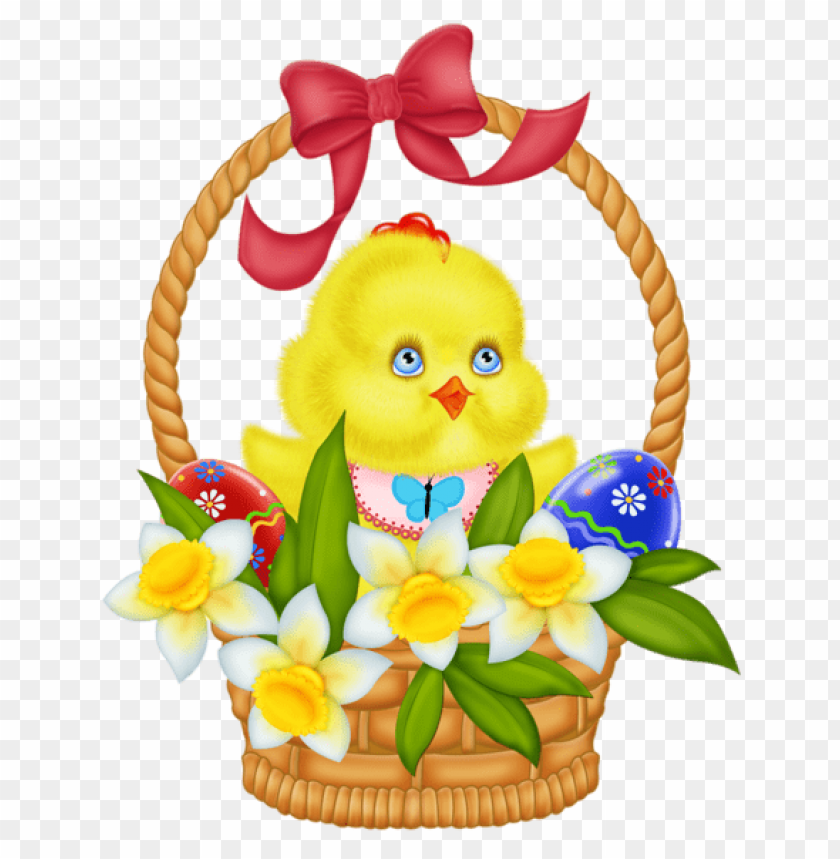 free PNG Download easter basket with eggs chicken and daffodils png images background PNG images transparent