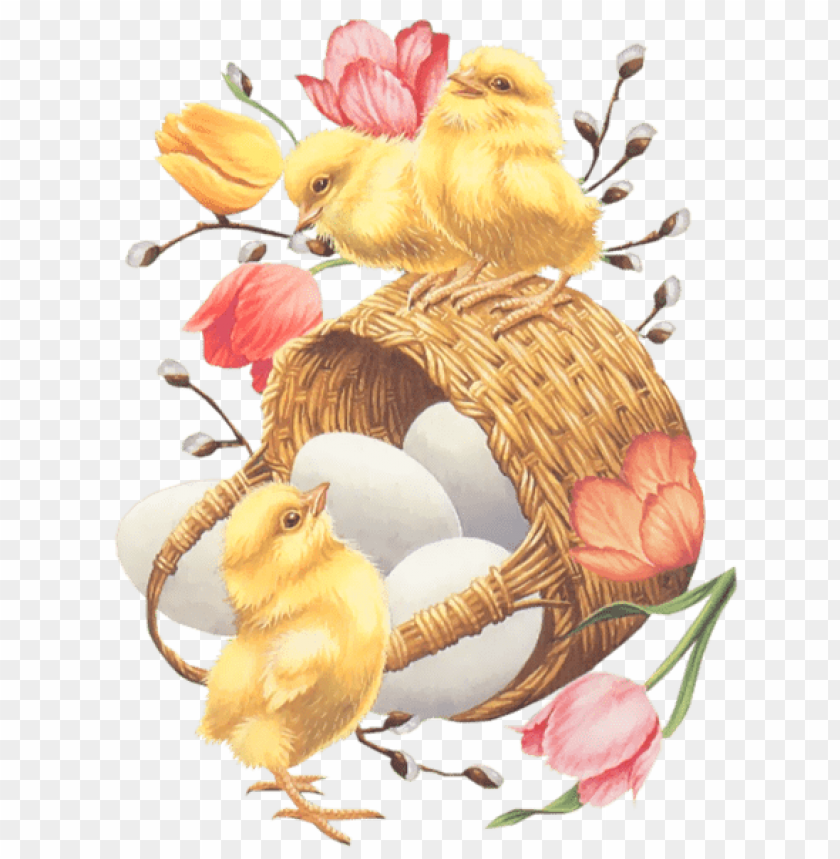 free PNG Download easter basket with eggs chickens and tulips png images background PNG images transparent