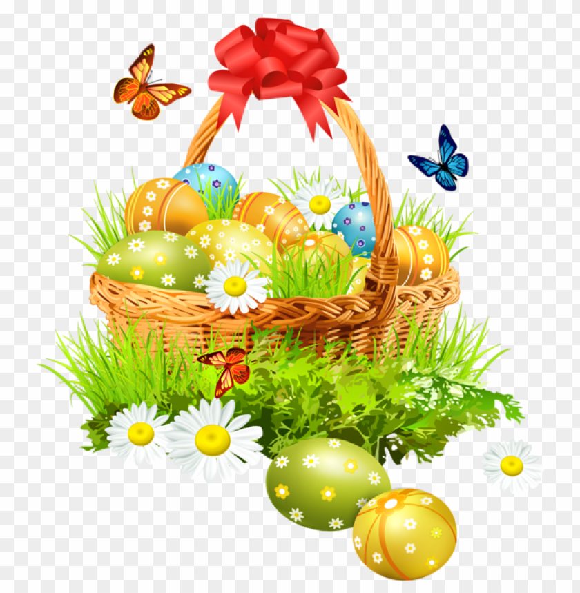 free PNG Download easter basket with eggsand butterfliespicture png images background PNG images transparent