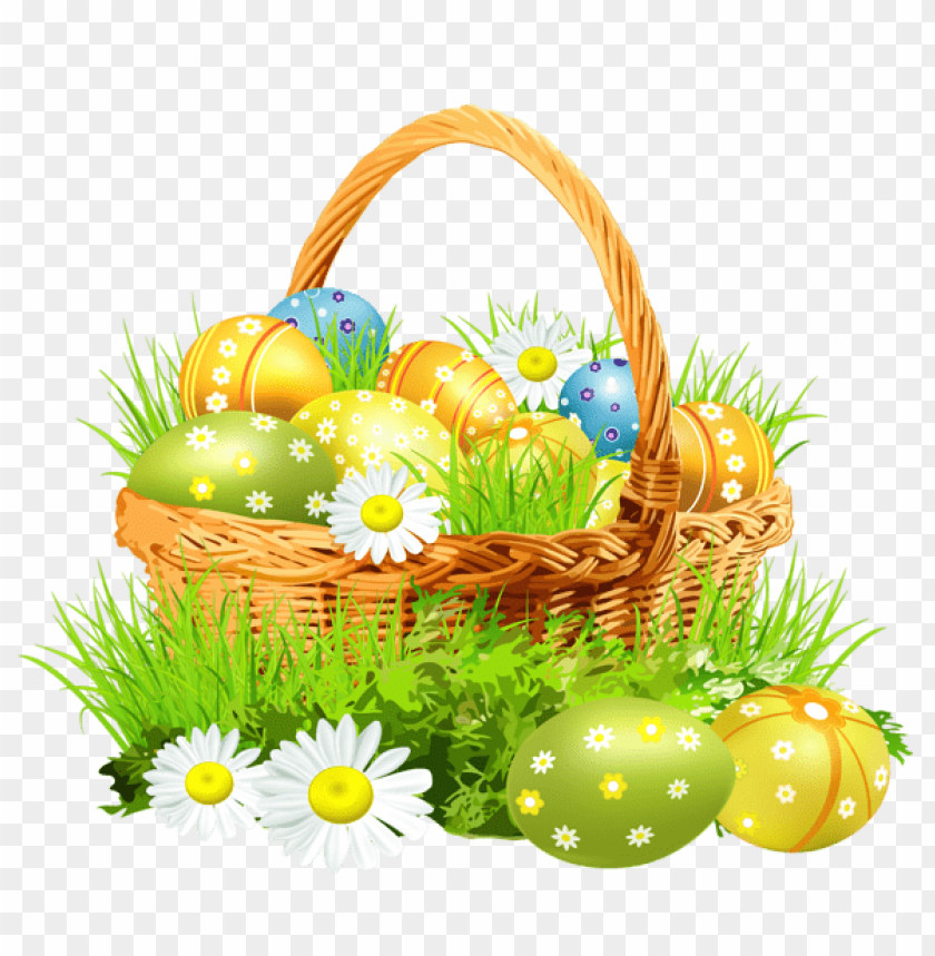 free PNG Download easter basket with eggsand daisiespicture png images background PNG images transparent